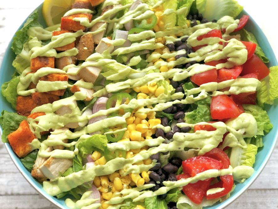 Spicy Fresh Tex-Mex Salad with Avocado Dressing. Wholesome meal ready in about half an hour!