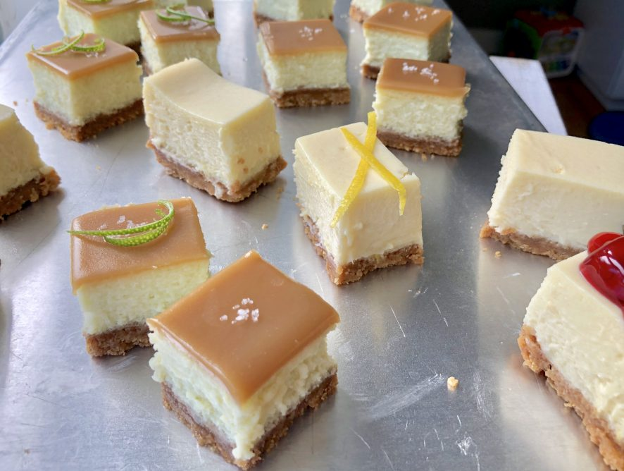 Lime cheesecake bars with salted butterscotch topping and buttery pecan crust! Wow!