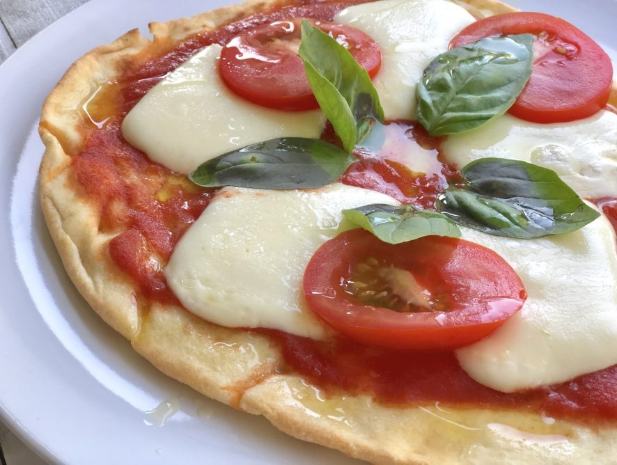 Quick Margherita Pizza on Naan Bread
