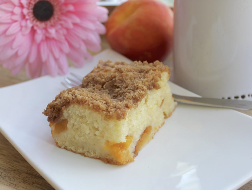 Easy Fresh Peach Coffee Cake with Streusel Topping - One-Bowl preparation