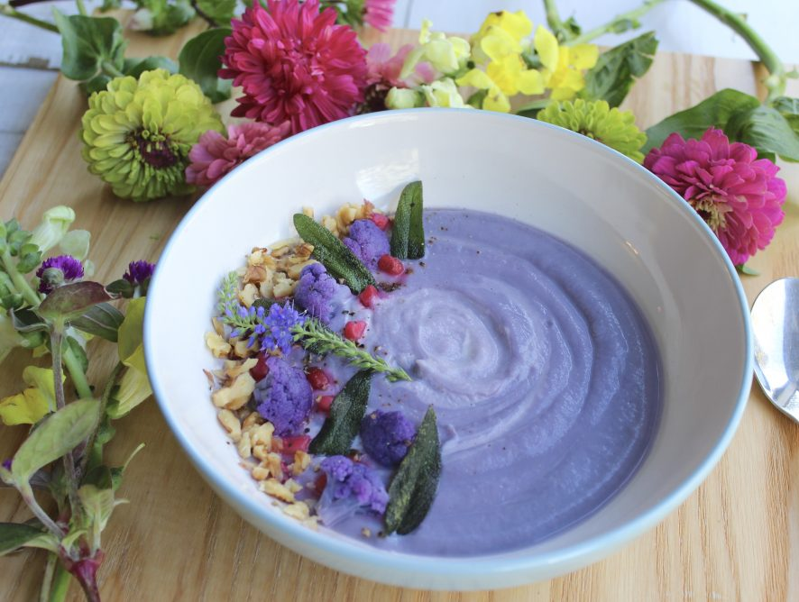 Creamy Cauliflower Soup with Crisp Sage Leaves