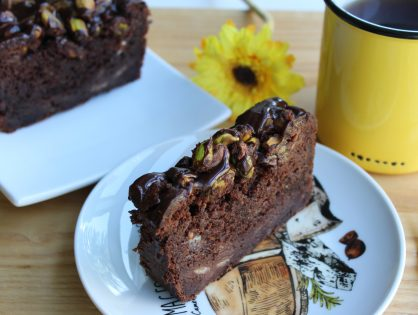 Triple Chocolate Banana Bread with Salted Pistachios and Chocolate Ganache
